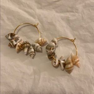 Mini Natural Shell 🐚 Gold Hoop Earrings